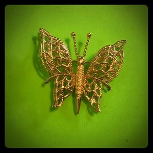 Monet Vintage Filagree Butterfly Brooch Pin